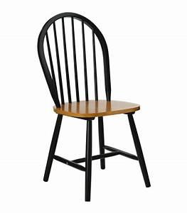 chaise a barreaux en bois noir mat et placage chene With repeindre chaise en bois