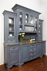 Gray, Kitchen, Hutch, Adds, Storage, To, Kitchen