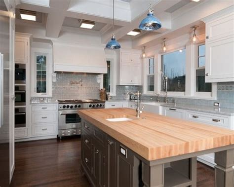 white kitchen island with butcher block top butcher block island ideas pictures remodel and decor 2218