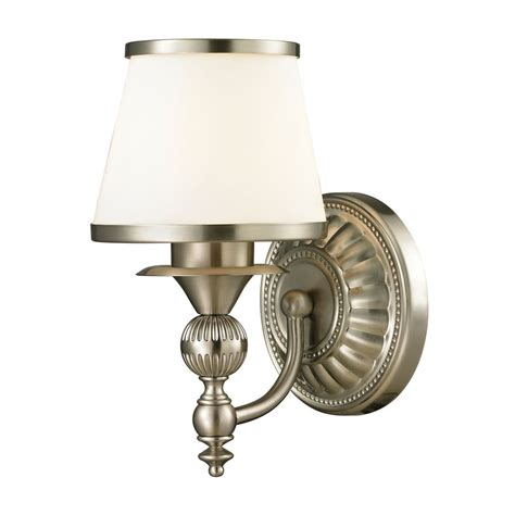 Led Sconce Wall Light With White Glass In Brushed Nickel