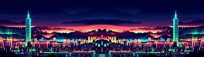 3840 1080 Wallpapers Neon Dual Screen Night