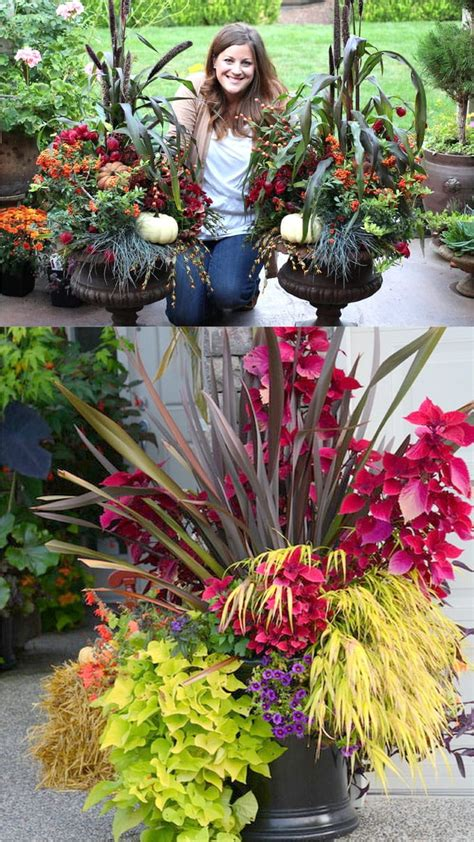 beautiful fall planters  easy outdoor fall decorations page     piece  rainbow