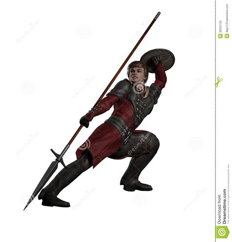 Fighter With Anime And Style Isolated On Black Background Or Spearman Fighting Stock Illustration