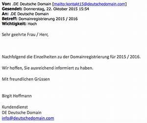 Anschreiben Rechnung Per E Mail : achtung de deutsche domain verschickt betr gerische ~ Themetempest.com Abrechnung