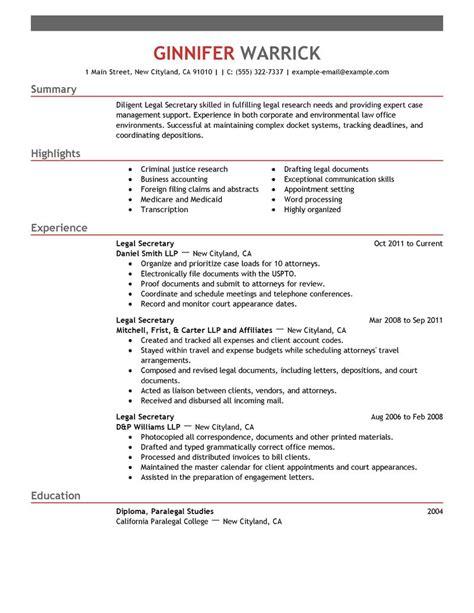 resume exle 48 secretarial resume exles secretarial