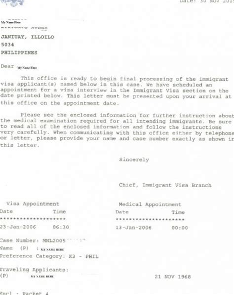 appointment letter  interview craig gings home