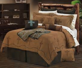 barbwire cross embroidery dark tan western bedding set super queen