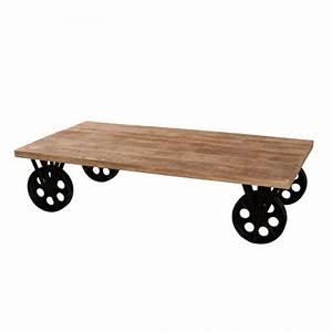 Table Basse Sur Roulette : table basse sur roulettes bois fer westwood tousmesmeubles ~ Teatrodelosmanantiales.com Idées de Décoration