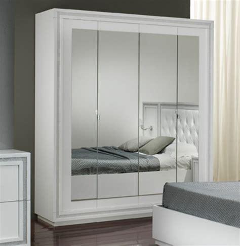 armoire chambre blanc armoire 4 portes krystel laque blanc