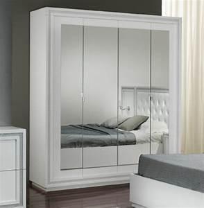Armoire Laqué Blanc : armoire 4 portes krystel laque blanc ~ Teatrodelosmanantiales.com Idées de Décoration