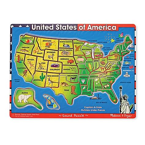 melissa doug deluxe usa wooden map puzzle  sound