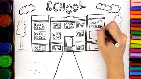 draw school house  kids coloring video  kids