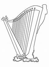 Harp Coloring Irish Pages Clipart St Patrick sketch template