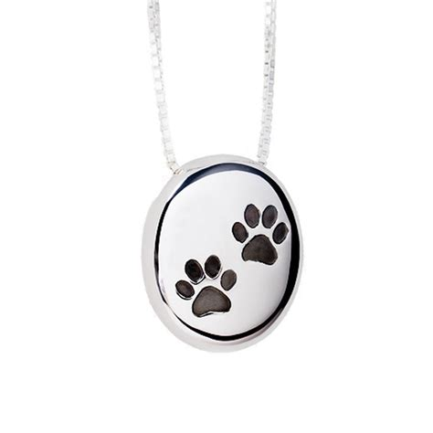 paw print cremation pendant sterling silver pebble