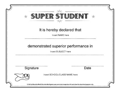 education world super student certificate template