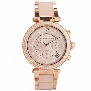 Michael Kors Ladies Parker Rose Gold Blush Chronograph ...