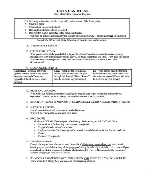 sample lesson plan outline lesson plan outline template 12 free sample example