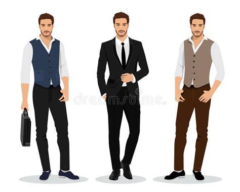 Stylish High Detailed Graphic Businessmen Set. Cartoon