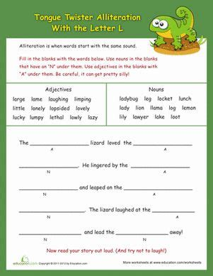 Alliteration For Kids Worksheets Furthermore Printable Alliteration Worksheets As Well As