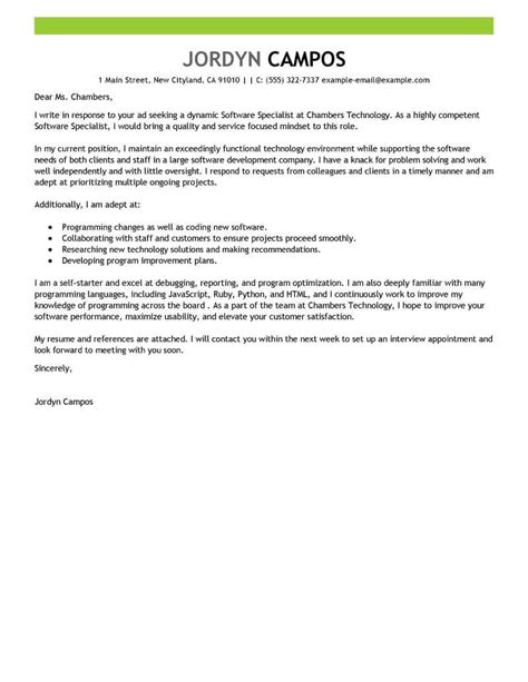 software specialist cover letter examples livecareer