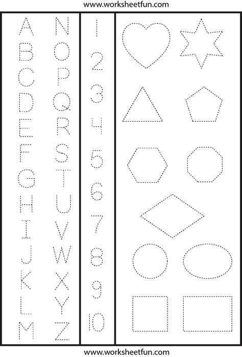 letters numbers shapes tracing worksheet printable