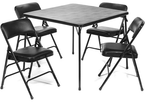 5pc xl series folding card table and vinyl padded chair
