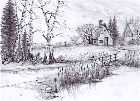 Beautiful Pencil Drawings Nature Sketches