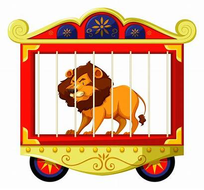 Circus Cage Lion Vector Clipart