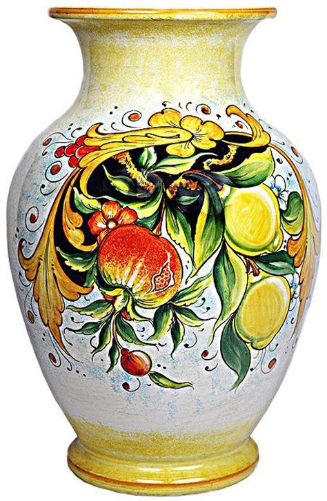 deruta ceramic vase frutta festone melograno  limoni