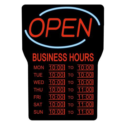 any home depot open 24 hours royal sovereign 15 in x 24 in led open sign with business hours rsb 1342e the home depot