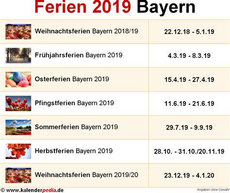 bayern sommerferien 2019 ferien bayern 2019 220 bersicht der ferientermine