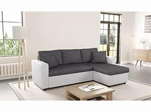 canape d angle convertible gris et blanc photos canap d With tapis design avec canapé d angle convertible maria couleur gris
