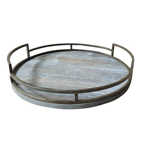 rustic farmhouse kitchen  metal framed wood tray