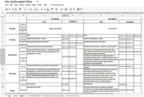 ela common core weekly lesson plan template  excel