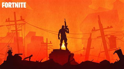 fortnite warrior sunset silhouette   wallpapers