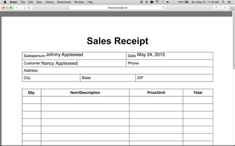 sales receipt form how to write an itemized sales receipt form youtube