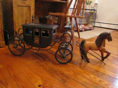 horse royal stagecoach metal carriage wood buggy miniature