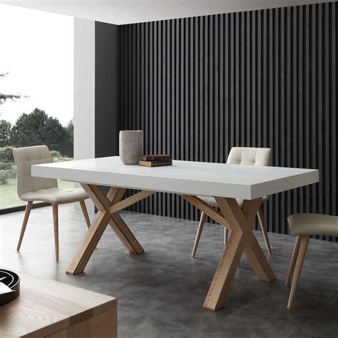 table extensible de salle à manger blanche en bois massif