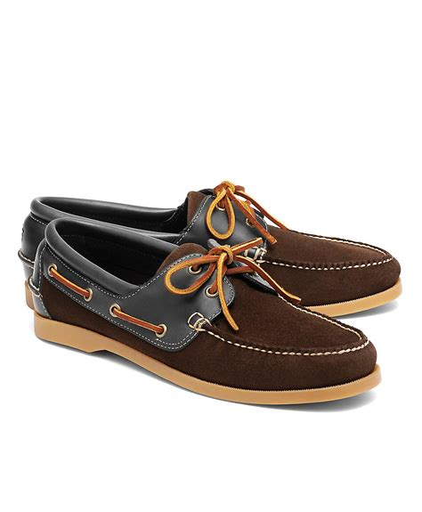 Brooks Brothers Boat Shoes by Brooks Brothers Suede And Leather Boat Shoe In Brown For