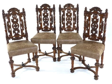 set of 4 19thc jacobean carved oak dining chairs 298351