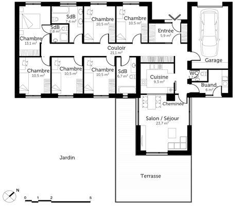 plan maison plain pied 6 chambres ooreka - Modèle Plan Maison 3 Chambres