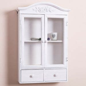 Shabby Chic Wall Cabinets For The Bathroom by White Glazed Wall Display Cabinet Shabby Storage Cupboard