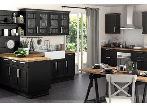plan de travail cuisine verre cuisine noir et blanc et bois