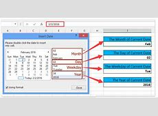 How to insert current day or month or year into cell