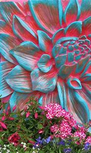 Lotus flower in contrasts of light blue and red   3d wall ...