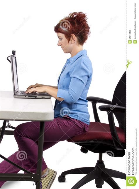 back pain from sitting at desk proper posture stock photos image 31818453