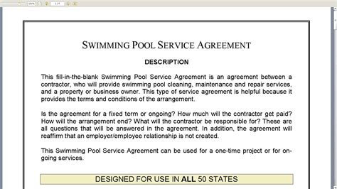 Swimming Pool Service Agreement