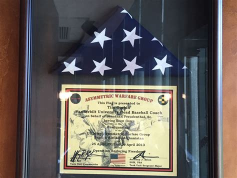 I have an american flag that flew over afghanistan on sept 11, 2003 during operation enduring freedom. Vanderbilt baseball coach Tim Corbin's office stocked with ...
