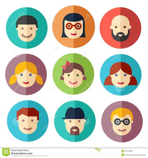 flat avatar icons faces people icons stock vector