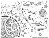Space Coloring Planets Pages Worksheets Stars Science Printable Drawing Worksheet Word Via sketch template